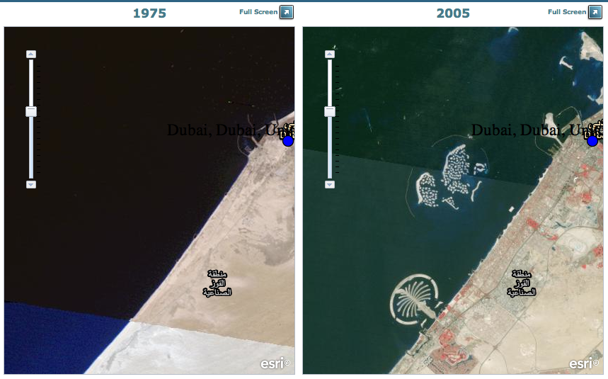map showing the construction of Dubai's Palm islands and The World islands